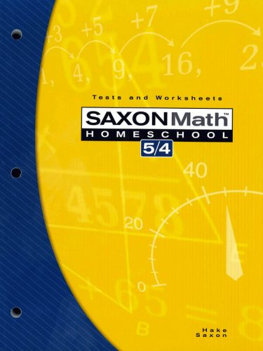 Saxon 5/4 Tests and Worksheets Book (3rd edition)