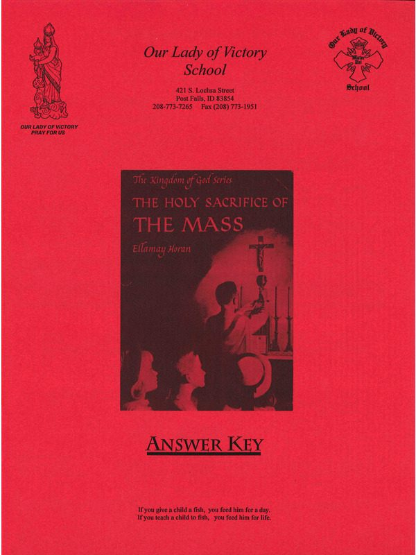 Holy Sacrifice of the Mass Answer Key