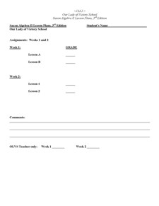 Lesson Plans - 10th Grade Math Algebra II 3rd Ed.