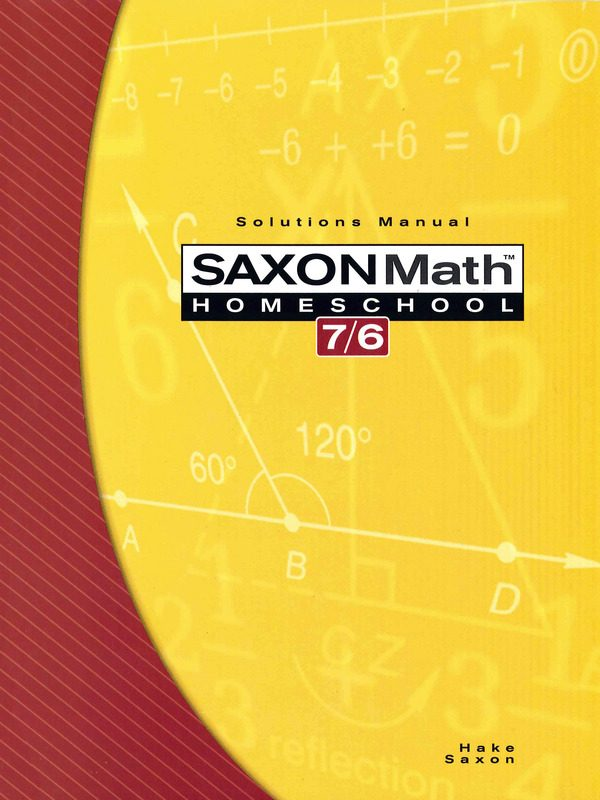 Saxon 7/6 Solutions Manual