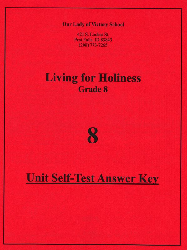 Living for Holiness Unit Test Answer Key