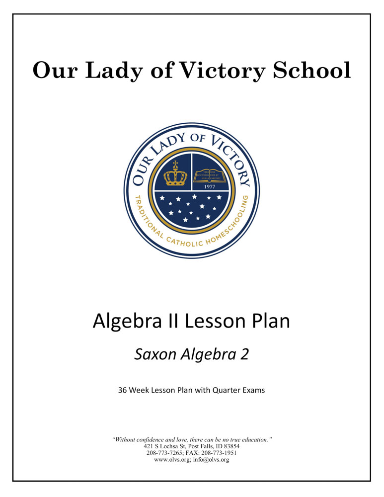 Lesson Plans - Grade 10 Math Algebra II